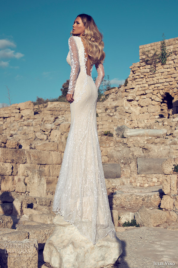 julie-vino-2014-bridal-long-sleeve-sexy-wedding-dress-open-back1