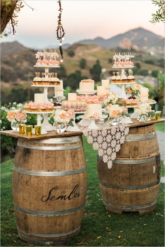 shabby-chic-wine-barrels-wedding-dessert-table-ideas