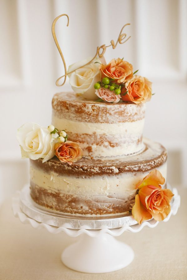 rustic-ideas-for-wedding-naked-wedding-cake-with-coral-roses